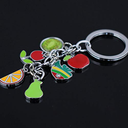 XHYKL appel peer kiwi oranje sleutelhanger sleutelhanger ring vis sleutelhanger schattig