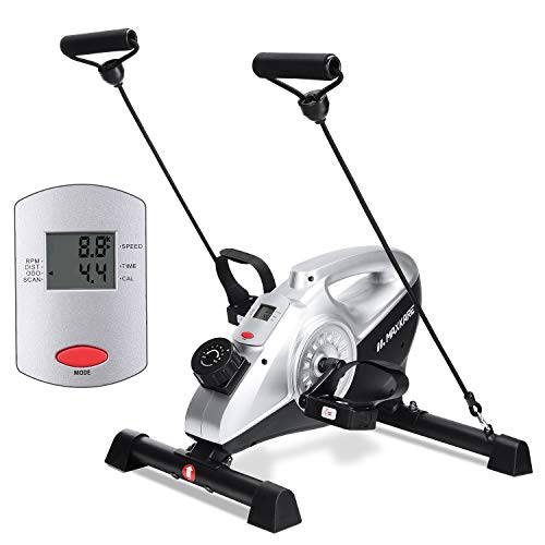 MaxKare Under Desk Bike Magnetic Mini Exercise Bike Stationary Cycle Pedal Exerciser with LCD Monitor for Leg and Arm Recovery for Men and women at Home and Office (Resistance Bands Included)