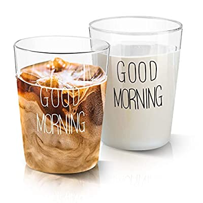 GOOD MORNING Glass Cups, Growom Funny Glass Coffee Cups, Cool Novelty Tea Mugs & Coffee Cups for Women & Men, Best Birthday and Christmas Gift for Mom, Dad & Friends, Set of 2, 13.5Oz