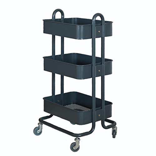 Vestíbulo 3-Nivel de servicio Multi-Propósito de la compra, de malla metálica rodante carrito con ruedas for espacios de oficina de habitación Baño Organización de la compra para almacenar artículos e
