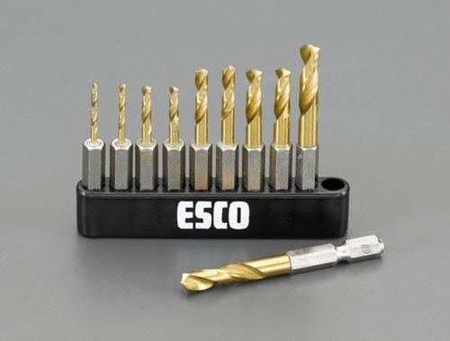 エスコ 2.0-6.0mm10本組六角軸ショートドリルセット EA824DF