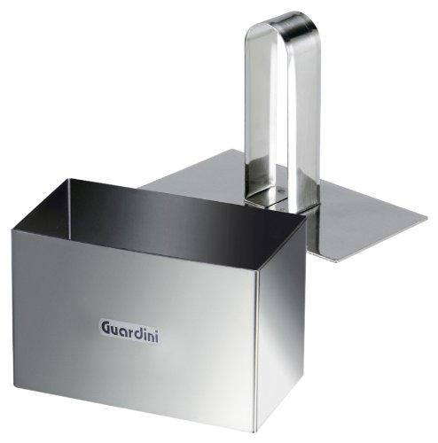 Guardini Accessori, Cercle à pâtisserie rectangulaire avec piston 9x5 cm, acier inoxydable, couleur argent