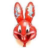 SauParty XL Ostern Hase Wolf Helium Folienballons Geburtstag Geschenk Osterhase Balloon, Form:R37F22 Rot