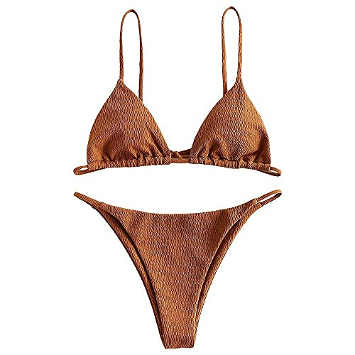 ZAFUL Bikini Damen Strukturierte Krawatte String Bikini Bademode Dreieck Gesmokte Badeanzüge Zweiteiliges Bikini Damen Set