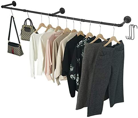 Crehomfy Industrial Pipe Clothes Rack with 3 S Shaped Hooks 72 L Wall Mounted Garment Rack Heavy product image