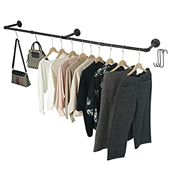 Crehomfy Industrial Pipe Clothes Rack with 3 Hooks 72' L Wall Mounted Garment Rack Heavy Duty Iron Garment Bar Clothes Hanging Rod Bar for Laundry Room Max Load 135Lb Black  3 Base