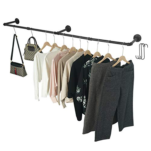 Crehomfy Industrial Pipe Clothes Rack with 3 SShaped Hooks 72'#039L Wall Mounted Garment Rack Heavy Duty Iron Garment Bar Clothes Hanging Rod Bar for Laundry Room Max Load 135Lb Black 3 Base