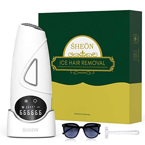IPL Geräte Haarentfernung, SHEON Haarentfernungsgerät 999.999 Blitze Hair Removal mit Neueste Eiskühlsystem für Körper und Gesicht, Ideal für Damen und Männer - inkl. Schutzbrille & Rasierer