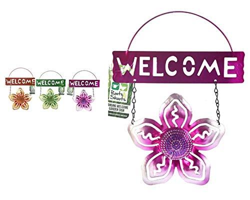 Roots & Shoots Plaque de Bienvenue en métal à Suspendre Motif Fleurs