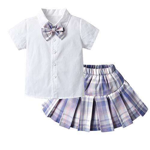 MSemis Conjuntos Nia Verano Camisa Blanca Manga Corta+Falda Corto Cuadro Disfraz de Animadora Uniforme Colegiala Nia Morado 3-4 aos
