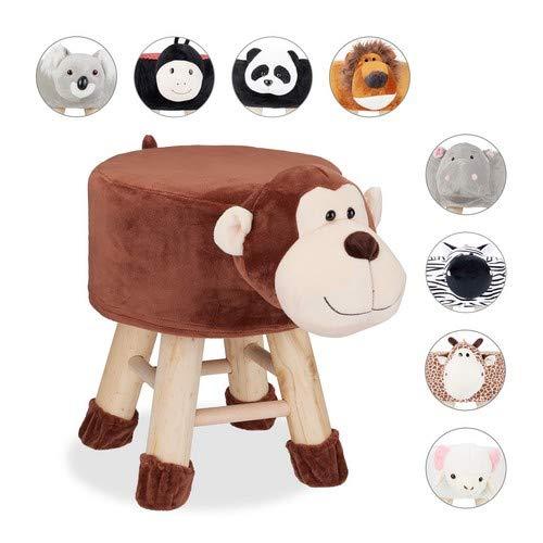 Relaxdays Tierhocker AFFE, Dekohocker für Kinder, Abnehmbarer Bezug, Holzbeine, gepolstert, Kinderhocker Tiere, braun, HBT: 46 x 34,5 x 28 cm
