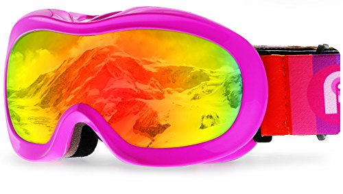 PP PICADOR Kids Ski Goggles, Kid Snow Snowboard Goggles for Boys Girls 4-7 with Over Glasses OTG Design Anti-Fog Lens 100% UV Protection Helmet Compatible(Pink)