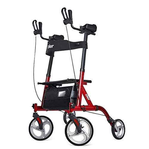 """Zler Upright Rollator Walker, Tall Walker with 10"""" Front Wheels, Stand Up Folding Rollator Walker Back Erect Rolling Mobility Walking Aid with Backrest Padded Armrests for Elderly, Seniors Adults, Red"""