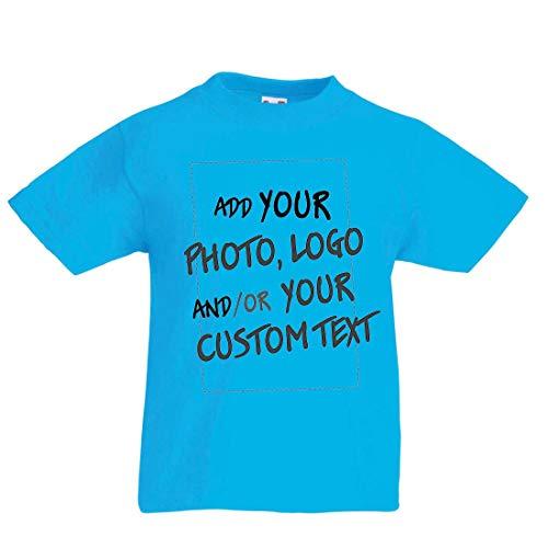 lepni.me Camiseta para Niño/Niña Regalo Personalizado, Agregar Logotipo de la Compañía, Diseño Propio o Foto (14-15 Years Azul Claro Multicolor)