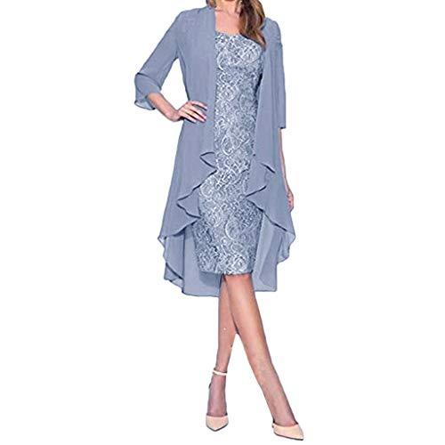 VEMOW Vestido Mujer Moda Dos Piezas Encantador Color sólido Madre deColor sólido la Novia Cordón Vestidos OtoñO Summer(Azul,2XL)