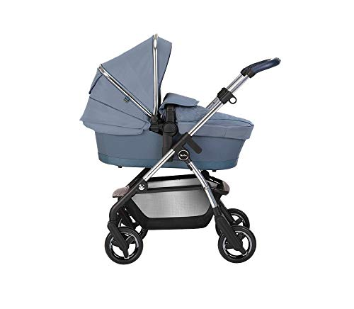 Silver Cross Wayfarer 2020 Travel System, Lightweight Baby Pram for Newborn to Toddler, with Reclinable Reversible Pushchair Seat and Carrycot - Sky
