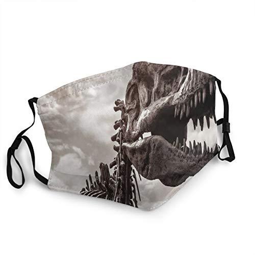Wiederverwendbar und waschbar,Facial Comfortable Windproof,Tyrannosaurus Rex Remains Photo Tilt Shot with Dramatic Cloudy Sky,zum Radfahren,Camping, Reisen,Einheitsgröße