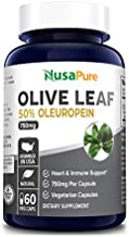 Olive Leaf Extract 750 mg 50% Oleuropein (Non-GMO & Gluten-Free) - Vegan - Super Strength - Immune Support, Cardiovascular Health & Antioxidant Support* - No Oil - 60 Capsules