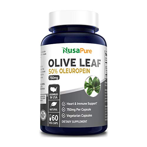 Olive Leaf Extract 750 mg 50% Oleuropein (Non-GMO & Gluten Free) - Vegetarian - Super Strength - Immune Support, Cardiovascular Health & Antioxidant Supplement - No Oil - 60 Capsules