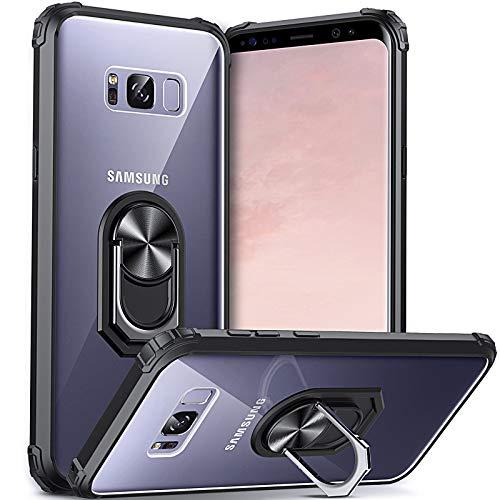 DOSNTO für Samsung Galaxy S8 Hülle Handyhülle, Klare Stoßfeste Fallschutz Silikon Schutzhülle Transparente TPU, mit 360 Drehbarem Magnetischem Ring Ständer, Schwarz