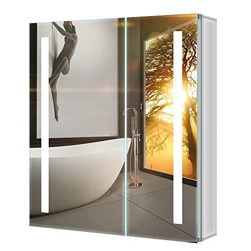 Tokvon Penumbra 63x65cm Spiegelschrank LED Badezimmer Spiegelschrank mit Beleuchtung Wandschrank Licht Aluminium Beschlagfrei Rasier Steckdose IR