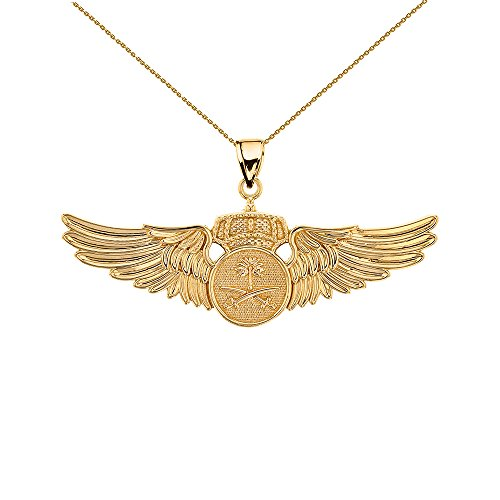 9 ct Gold Yellow Gold Saudi Arabian Air Force Wings Pendant Necklace Necklace (Available Chain Length 16'- 18'- 20'- 22') C