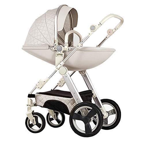 Pushchair 3-in-1-Babyby-Kinderwagen für Hochleistungs-Eierschale zum Sitzen und Liegen zweiseitiger Kleinkind-Sessel mit Baby-Knottchen-Kombination Strollers 0-3 Jahre,White