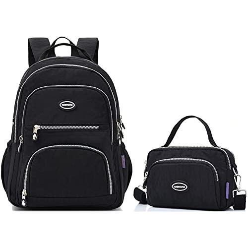 HUAERYOUYUE Waterproof Backpack Women Shoulder Bag Travel Handbag Casual Messenger Bag for School Satchel Cross Body Bag Lightweight Side Bag