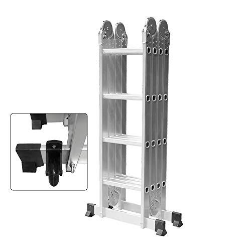 HENGMEI 4.7m 6 en 1 Escalera de Aluminio Multifuncional Plegable Escalera con Plataforma 4x4, Cargable hasta 150 kg