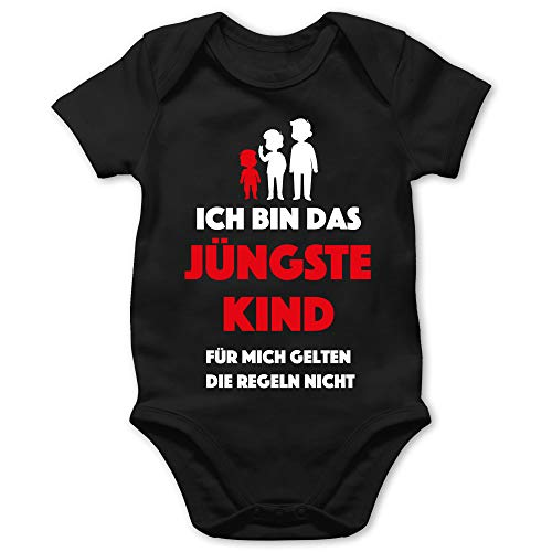 Shirtracer Sprüche Baby - Ich Bin das jüngste Kind. Für Mich gelten die Regeln Nicht - 18/24 Monate - Schwarz - Baby Tante Body - BZ10 - Baby Body Kurzarm für Jungen und Mädchen