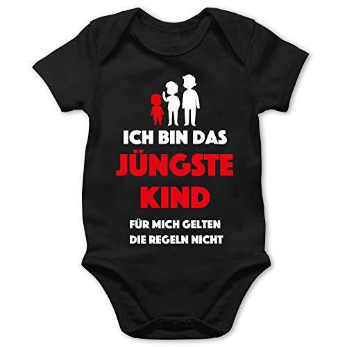 Shirtracer Sprüche Baby - Ich Bin das jüngste Kind. Für Mich gelten die Regeln Nicht - 18/24 Monate - Schwarz - Baby Junge Kleidung - BZ10 - Baby Body Kurzarm für Jungen und Mädchen