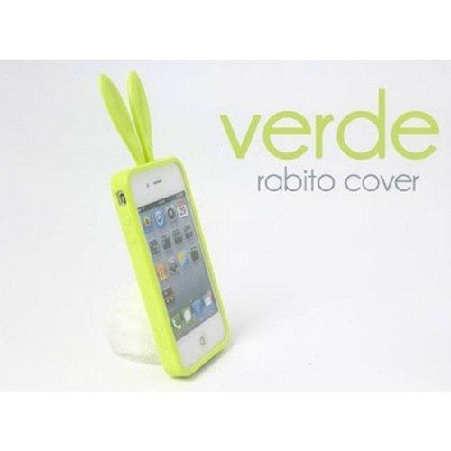 Rabito RB5000S Bling Bling Custodia Cover Case Accessorio con orecchi e coda per Cellulare Smartphone Apple iPhone 4/4S, Verde