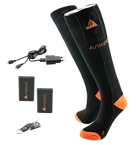 Alpenheat beheizte Socken, Model AJ27-RC-L, Gr. 42-45, unisex Fire-Sock Set schwarz/grüne Wolle, mit Fernbedienung