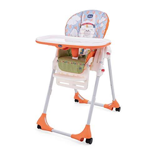 Chicco Polly Easy Chaise Haute Evolutive et Transat pour Bébés, Inclinable avec Hauteur et Repose-Pieds Réglables, 4 roues, Fermeture Compacte - de 6 mois à 3 ans (15 kg) - Lama