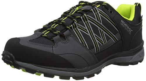 Regatta Chaussures Techniques De Marche Basses Samaris II, Zapato para Caminar Hombre, Ponche Negro/Lima, 44 EU
