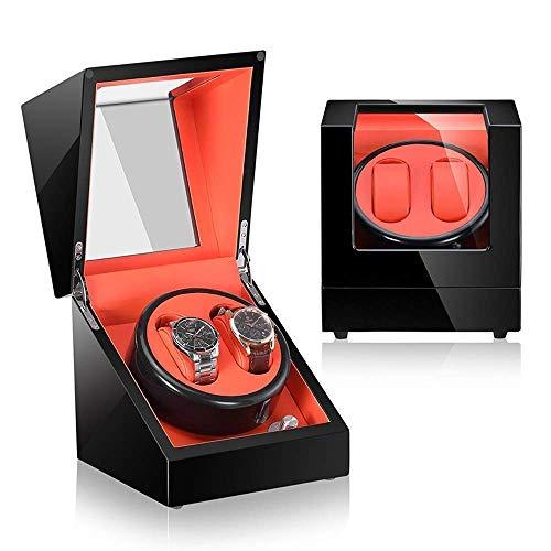 KAIBINY Caja de Reloj Reloj automático de la devanadera, rotando Relojes Pantalla Elegante Caja de Almacenamiento 2 Relojes de rotación con el japonés Display Motor Caja de la Caja