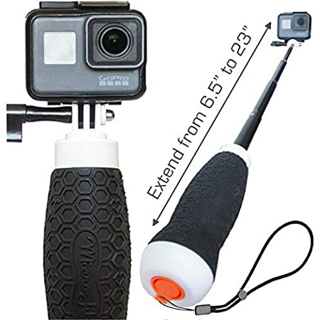 """Extendable GoPro Floating Hand Grip + Waterproof Camera Pole Mount 6.5-23"""" (for Hero 9, 8, 7, 6, 5, 4 Session and MAX) 