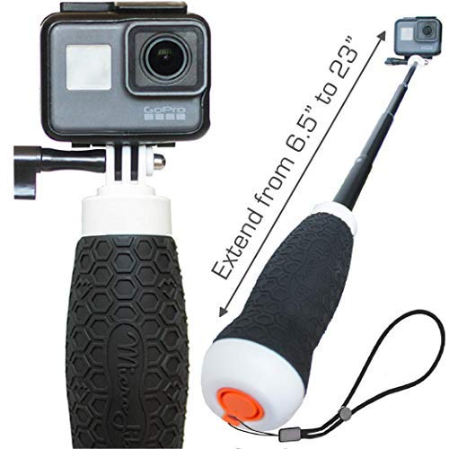 Extendable GoPro Floating Hand Grip + Waterproof Camera Pole Mount 6.5-23