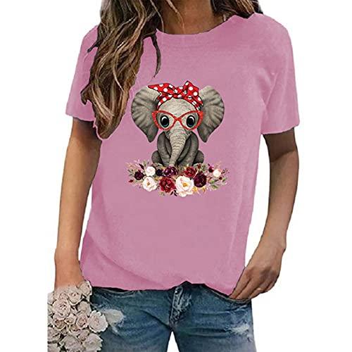 SLYZ Blusa De Camiseta De Mujer De Manga Corta con Estampado De Letras De Cuello Redondo De Verano De Estilo Europeo Y Americano