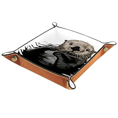 """Valigia per cameriere in pelle sintetica con scritta in lingua inglese """"Sea Otter"""", con vassoio per gioielli, chiavi, monete, bicchieri, regalo di compleanno"""