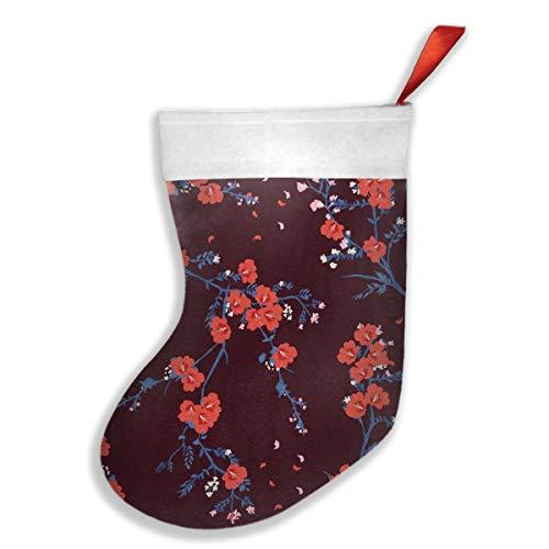 Nicegift Blühender roter orientalischer Blumen-Garten-Blüten-Weihnachtshängender Strumpf, sortierte Sankt-Geschenk-Socken, die Zusätze für Weihnachtsbaum-Dekoration 16.5X10.2 Zoll hängen