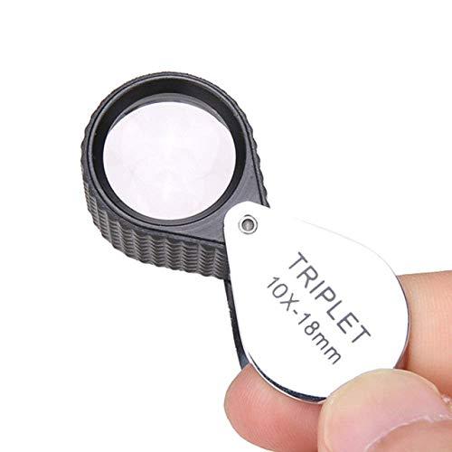 Vergrootglas Draagbare HD 10X Sieraden Identificatie Vergrootglas HD Optische Bril Lens Lezen Hobbies Sieraden Kaarten Ambachten Vergrootglas Lupe 65 * 20mm ZILVER