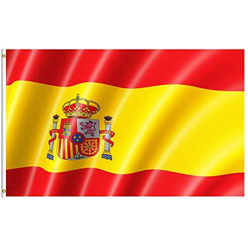 Lixure Bandera de España 5x8FT (150x240cm) 100% Poliéster Bandera Republicana Española de Color Vivo y Doble Costura Bandera Resistente a Rayos UVA con Ojales de Latón para Exteriores