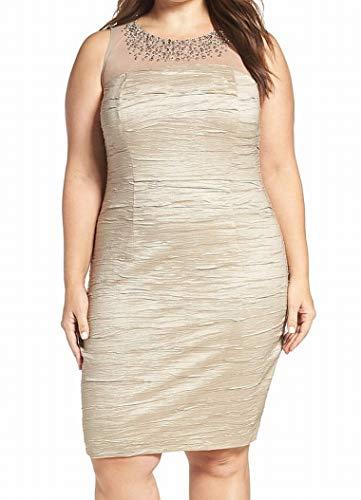 Eliza J Women's Plus Size Sleeveless Beaded Illusion Bodice Sheath Dress, Taupe, 18W