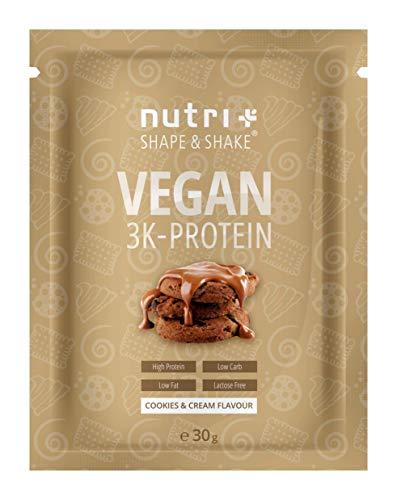 EIWEIßPULVER VEGAN Cookies & Cream 30g Probe - 81,9% Eiweiß - Nutri-Plus 3k-Protein Powder - Veganes Proteinpulver ohne Laktose - Proteinisolat Pulver mit Keks Geschmack