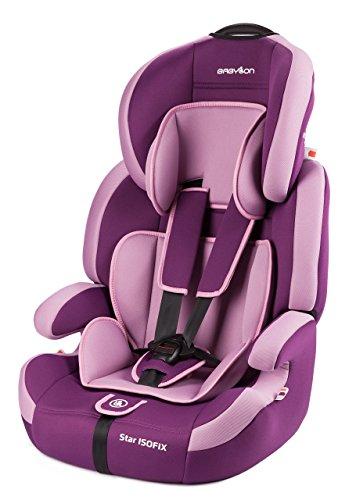 Babylon Star ISOFIX Autokindersitz Gruppe 1/2/3, 9-36kg Kindersitz mit Isofix und Top Tether 5 Punkt Sicherheitsgurt Autositz Einstellbare Kopfstütze ECE R44/04 Violett