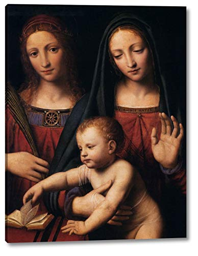 """Madonna and Child with STS Catherine and Barbara Detail by Bernardino Luini - 9"""" x 12"""" Gallery Wrap Canvas Art Print - Ready to Hang"""