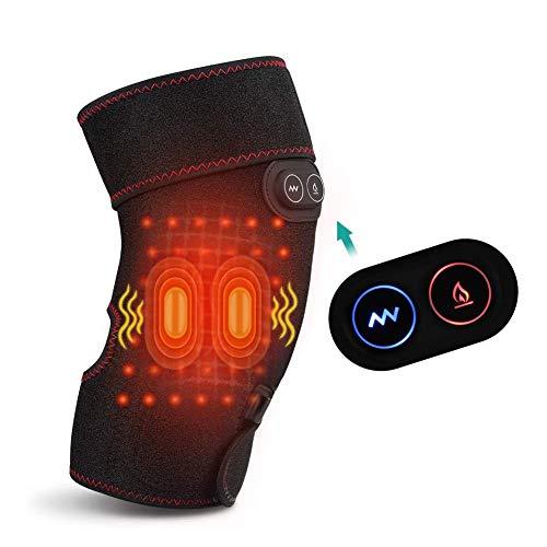 Rodillera de Masaje con Calor y Vibración, Almohadilla de Calefacción con 2 Motores de Mibración para Lesiones de Rodilla, Calambres para la Recuperación de Artritis(Una pieza)