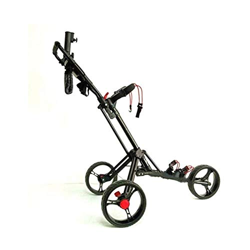 SYue Push Golf Trolley Faltbarer 3-Rad Golf Trolley Manueller Push/Pull Golf Cart mit Schirmständer Scorecard und Getränkehalter Aluminium Golf Cart