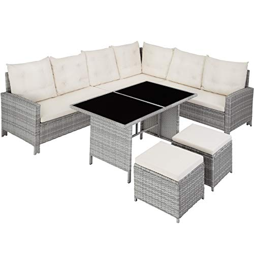 TecTake 800824 Rattan Garden Furniture Set with Corner Sofa, Table and Stool, Outdoor Patio Dining Set, 5 Piece Seating Set, Inc. Seat- and Back Cushions (Light Grey)